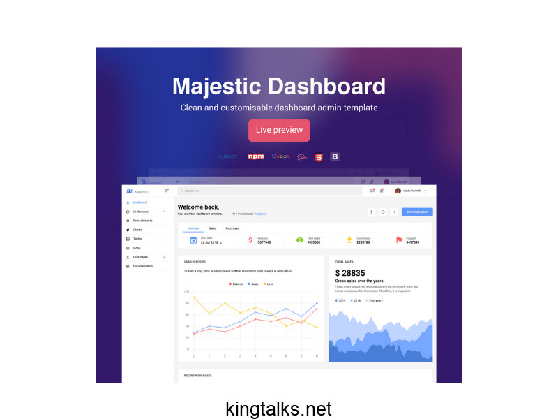 Photo of Majestic Admin Free Bootstrap Admin Template
