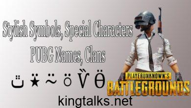 Stylish Symbols, Icons, Special Characters for PUBG